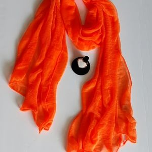 Beautiful bright orange sheer scarf and ring